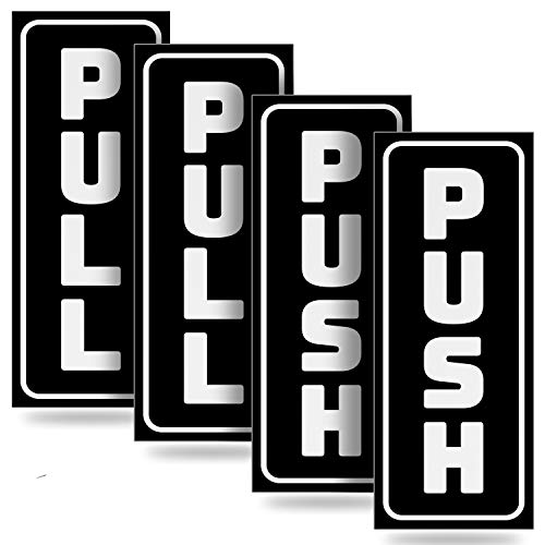 "Push Pull Door Vertical Stickers Sign – 2 Pack 2""x5"" in, Back Self-Adhesive Black & White Vinyl Sticker for Business, Stores, Cafes, Shops & More. Indoor and Outdoor use."