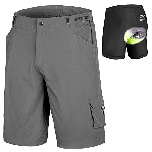 Men's MTB Shorts Padded Mountain Bike Shorts, Loose Fit Bicycle Baggy Shorts with Removable Liner Grey