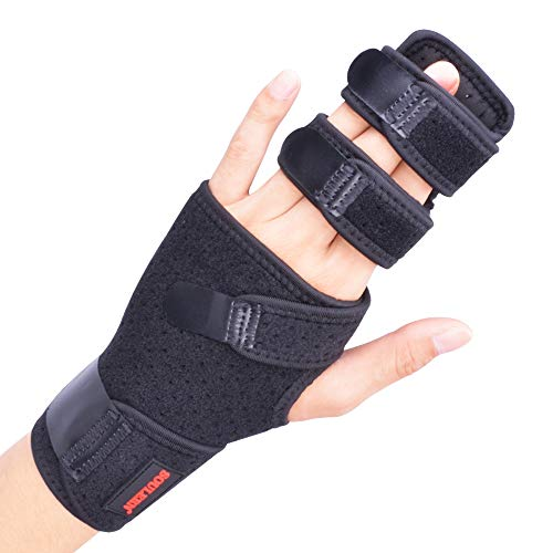 Trigger Finger Splint for Two or Three Finger Immobilizer, Finger Brace for Broken Joints, Sprains, Contractures, Arthritis, Tendonitis and Pain Relief (Left, S/M)