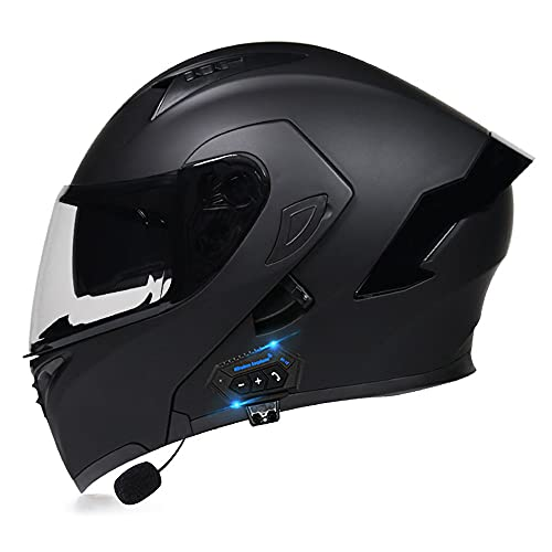 RMBDD Aprobado por Dot/ECE Casco de Motocicleta Auriculares Bluetooth Integrados para Casco Abatible Casco Modular Tipo Abatible con Gafas de Walkie Talkie Casco (55~62cm)