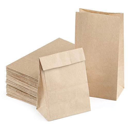 Kesote 50 Petites Sacs en Papier Marron Mini Sachets Cadeau Pochettes Sachets 9 * 18 * 5.5 cm Papier Kraft Sacs pour Party Mariage Cafes Anniversaire Noël Halloween