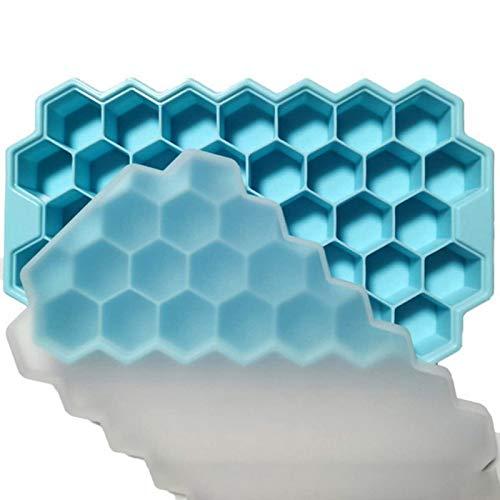 QZH 2 Paquete Moldes de Cubitos de Hielo de Silicona con Tapa Bandejas de Hielo Flexibles BPA Gratis, para Whisky, cóctel, moldes de Cubitos de Hielo Flexibles Flexibles apilables,Azul,20 * 12 * 2cm