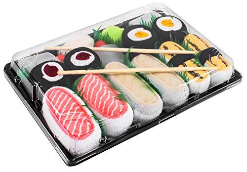 Rainbow Socks - Damen Herren - Sushi Socken Tamago Lasch Butterfisch 2x Maki - Lustige Geschenk - 5 Paar - Größen 36-40
