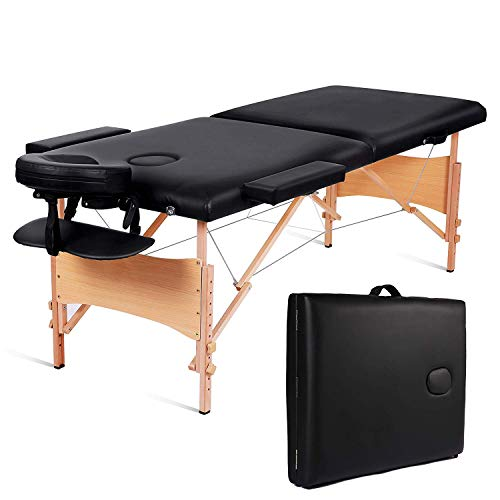 MaxKare Folding Massage Table Portable Facial SPA Professional Massage Bed With Carrying Bag 2 Fold Lash Bed with Head-& Armrest (Black)