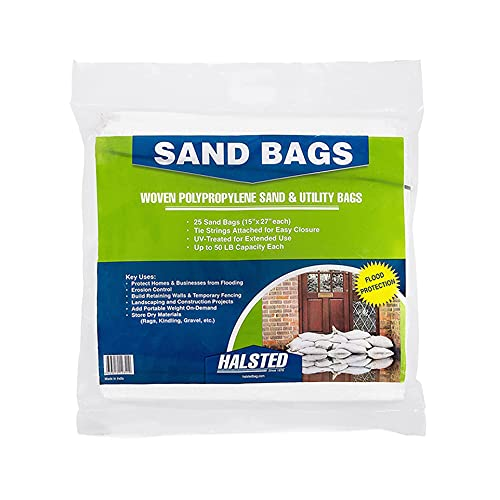 """HALSTED Heavy Duty Sand bags with Tie Strings for Flooding (15"""" x 27"""") - Empty White Woven Polypropylene Sand & Utility Bags Up to 1600 Hours of UV protection - 25 Bags"""