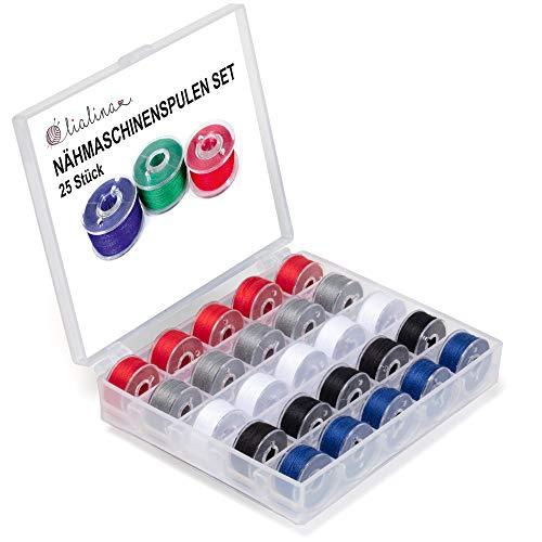 Lialina 25 bobinas para máquina de coser, incluye caja de bobinas, enrolladas en Alemania, hilo 120/50 m, 100% poliéster (Mix 2).