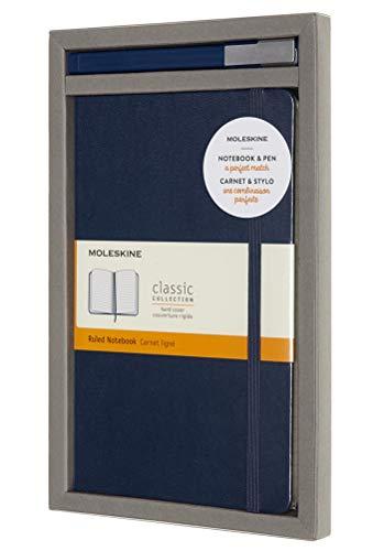 Moleskine - Schreibset mit Notizbuch und Tintenroller Classic Plus (Klassisches Notizbuch mit Linierten Seiten, Hardcover, Großformat 13 x 21 cm, Farbe Saphirblau, 240 Seiten - Tinte Nachfüllbar)