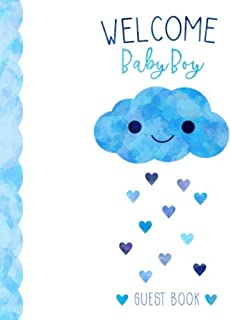 Welcome Baby Boy Guest Book: Cute Blue Cloud with Hearts - Kawaii Baby Shower Sign In Party Guest Book and Gift Log, Space for Names, Advice and Wishes, Softcover Paperback