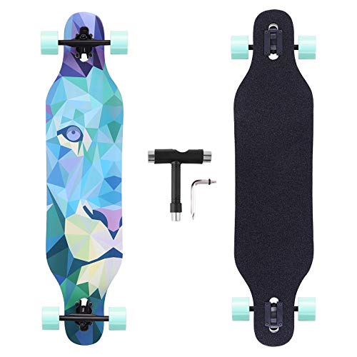 BOCIN 41 inch Freeride Longboard Drop Through Skateboard 8 Ply Canadian Maple Complete Cruiser for Cruising, Carving,Free-Style and Downhill (Lion)