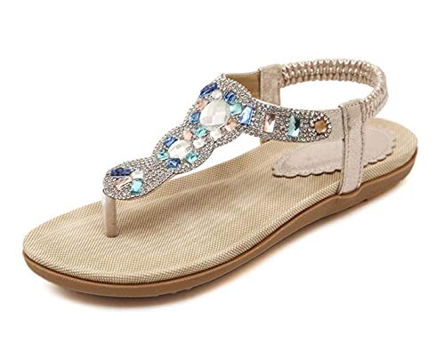 APTRO Damen Sandalen Sommerschuhe Sandalen Flach Zehentrenner Sandalen Freizeit Mädchen Sandalen, Gold, 39 EU