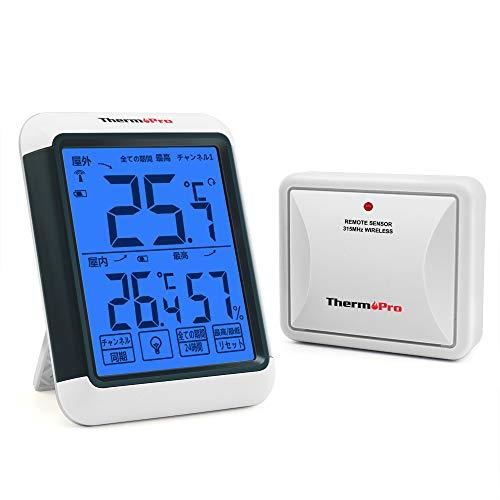 ThermoPro湿度計 コードレス温湿度計室内 室外温度計最高最低温湿度値表示 高精度 LCD大液晶画面 バックラ...