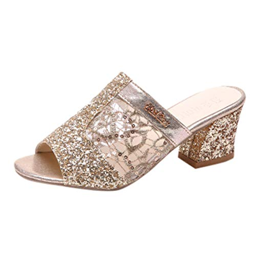 Beonzale Damenmode Slip auf High Heel Peep Toe Kristall Slipper Casual Sandalen Schuhe