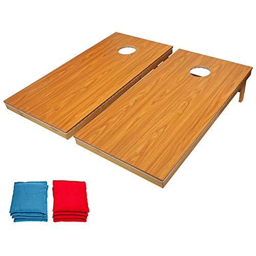 OOFIT Cornhole Game Set with Stylish 16 Colors Led Light, Portable Solid Wood Premium Regulation 2 X 4 FT Corn Hole Boards with 8 Toss Bags