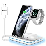 3 in 1 Wirless Charging Station for Apple iPhone Watch Airpods,Any warphone 15W Fast Wireless Charger for Apple iWatch 6/SE/5/4/3/2/1,AirPods 3/2/1, iPhone 11 Series/XS MAX/XR/XS/X/8/8 Plus