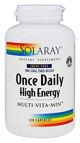 Solaray High Energy Multivitamin   Once Daily, Timed-Release Formula   Whole Food & Herb Base   Non-GMO (120 CT Iron-Free)