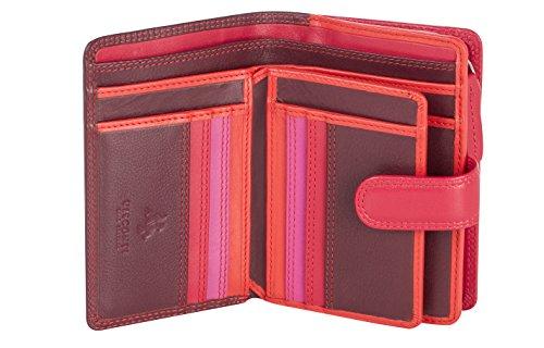Visconti ® Leder Geldbeutel Damen RFID Schutz Geldbörse Damen Portemonnaie Bifold Mehrfarbig Portmonee in Geschenk-Box ''RAINBOW'' (RB51 plum multi)