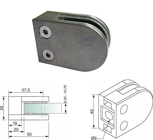 PMC Zinkdruckguss Zink roh V2A für Rohr 42,4mm Glashalter Glasklemme Glass Clamp MOD:0 (Zink Roh / flach / ESG 6,00 mm)