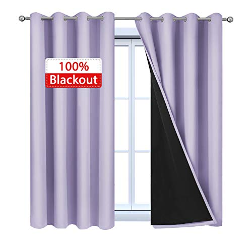 Yakamok 100% Blackout Curtains 54 Inches Long, 2 Thick Layers Thermal Insulated Window Treatment with Black Liner, Heat and Full Light Blocking Drapes for Bedroom(52Wx54L, Lilac, 2 Panels)