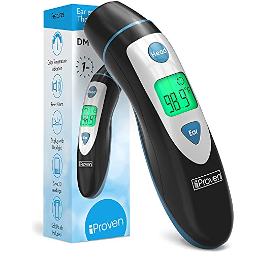 Ear and Temporal Thermometer, Ideal for Adults, Kids, Children and Babies, Accurate Medical Infrared Readings, Digital Forehead Thermometer, Fast and Easy to Use, iProven DMT-489 Fever Thermometer