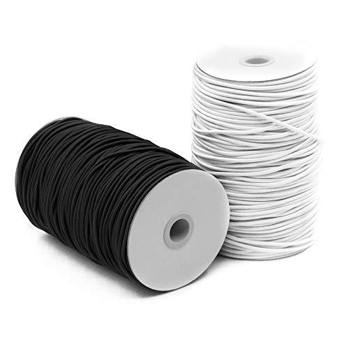 SourceTon Corda elastica, ideale per artigianato, elastici per capelli, bordatura e uso domestico, 2 mm x 50 m, colore nero e bianco, confezione da 2 pezzi