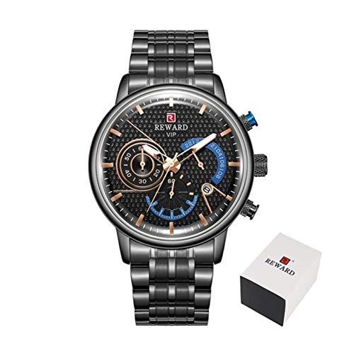TXOZ Correa de Acero Relojes de los Hombres a estrenar de Lujo Impermeable del Deporte del Reloj del Cuarzo del Reloj Militar Masculino del Reloj (Color : Black Box)