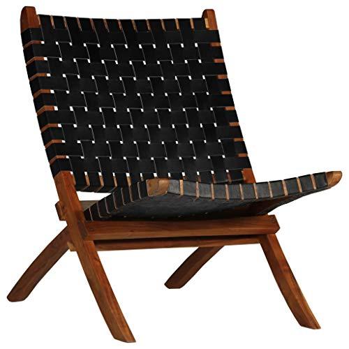 vidaXL Relaxstuhl Echtleder Kreuzstreifen Schwarz Klappstuhl Sessel Stuhl