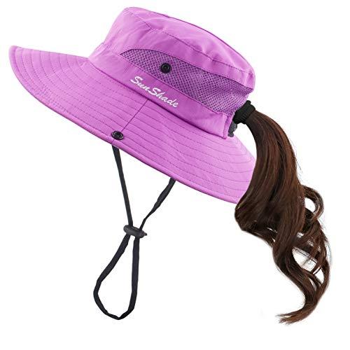 Muryobao Women Ponytail Summer Sun Hat Wide Brim UV Hats Floppy Bucket Cap for Safari Beach Fishing Gardening Pure Purple