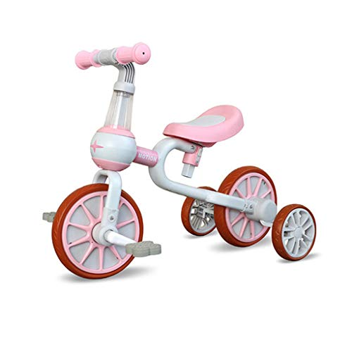 Asdf 2 in 1 Baby Balance Bike for 2-6 Years Old Kids with Detachable Pedal and Training Wheels Toys for Boys Girls Infant Toddler Bicycle Best Gift,B