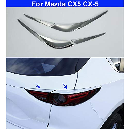 rong-car1 2 Stks ABS Chrome Auto Achterlicht Lamp wenkbrauw Cover Trim Decoreren Cover Voor CX5 CX-5 2017 2018 2019