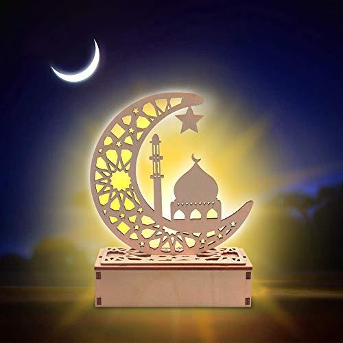Eid Mubarak Ramadan - Lámpara LED de madera, decoración de festivales musulmanes, decoración de media luna, luz nocturna para el Eid Musulmán, Eid Mubarak