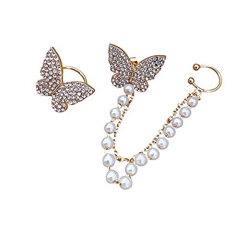 PPuujia Pendientes de perlas de imitación de mariposa asimétrica, estilo coreano, estilo retro, con flores redondas, pendientes de alas (Color de metal: cristal-mariposa)