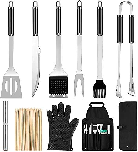 Gesentur Barbecue Accessori, 10 Pezzi Attrezzi per Barbecue Acciaio Inox Set, Kit Barbecue Utensili Professionale, Miglior Regalo per Barbecue per Uomini e Donne
