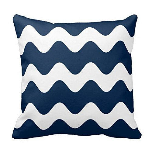 AEMAPE Navy Blue Wave Pattern Throw Pillow Case Cushion Cover 40X40 Cm