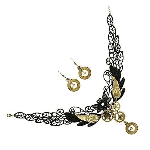 Generic Dentelle du Cou Gothique Collier Vintage Boucle D' Oreille Vitesse Steampunk Collier Choker Collier Halloween Costume Accessoires pour Femmes Filles Noir 3Pcs