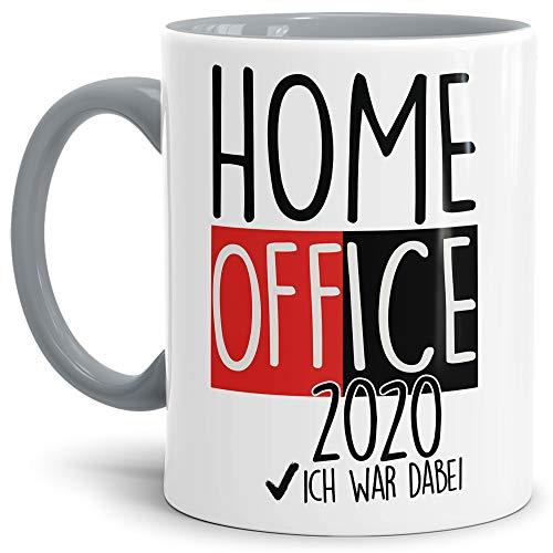 Home Office Tasse mit Spruch - Home Office 2020 - Kaffee-Tasse/Arbeit/Job/Lustig/Erinnerung Krise Virus 2020 - Innen & Henkel Grau