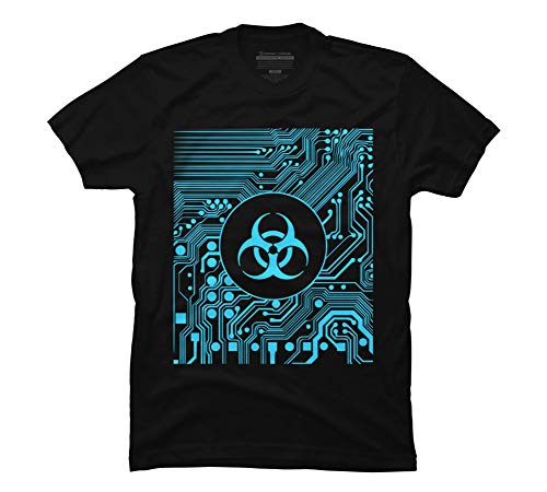 Design By Humans Cyber Goth - Biohazard (Blue) Men's Small Black Graphic T Shirt