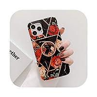 Yokkg iPhone 12 11 Pro Max 12 Mini XR X XS Max 7 8 Plus Soft IMDPhoneバックカバー用リング付きメッキラインフラワーフォンケース-d-For iPhone 7 or 8