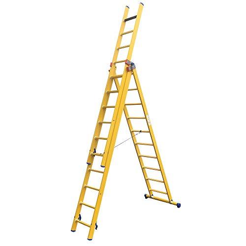 Alumexx Kunststof GVK Ladders 3-Delig - Kunstof-ladder - Glasvezelversterkte Kunststof- Ladder - Isolerende ladder - Onderhouds-ladder (3X12 Treden)