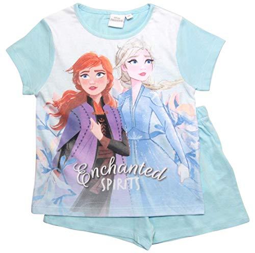 Frozen 2 Mädchen Die Eiskönigin Schlafanzug ELSA Pyjama (Weiß-Blau, 128)
