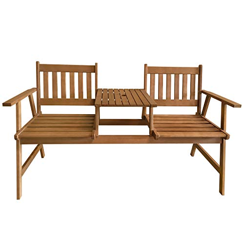 Outdoor Patio Bench Wood Garden Bench Park Bench Acacia Wood with Table for Pool Beach Backyard Balcony Porch Deck Garden Wooden Furniture, Natural Oiled