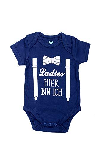 Emmis Glück Baby Body Ladies, Hier Bin ich - Gr. 50/56 Geschenk zur Geburt 100{b9a9ded58a50d97b33f76d998006df7e95210aa8ed3e384019341e3fa32eedde} Baumwolle
