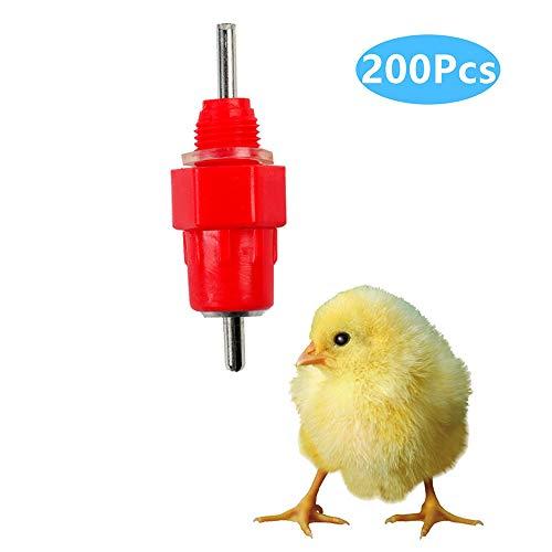 Alimentador automático de bebederos de pezones de Agua de Pollo de 200 Piezas, alimentador de Tornillo de gallina para Aves de Corral, Suministro Constante de Agua Limpia