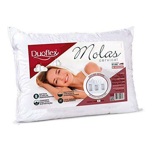 Travesseiro Molas Cervical, Duoflex, Branco, para Fronha 50 x 70 cm, Espuma 100% Poliuretano