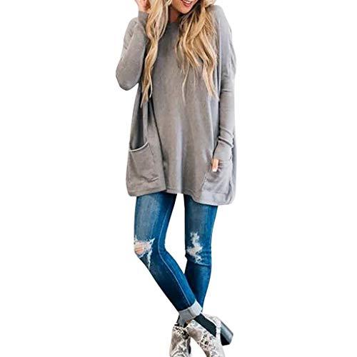 Damska bluzka z długim rękawem okrągły dekolt jednolity kolor tunika topy luźna koszulka pulower bluzy na co dzień koszule z kieszeniami