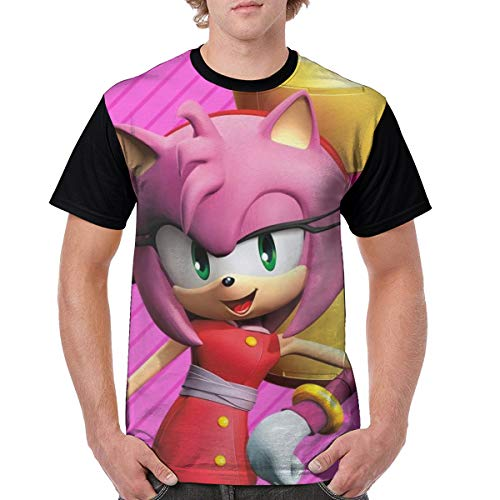 Sonic Boom-Amy Rose Men Classic Polyester Short Sleeve Shirt Anime T-Shirt XXL