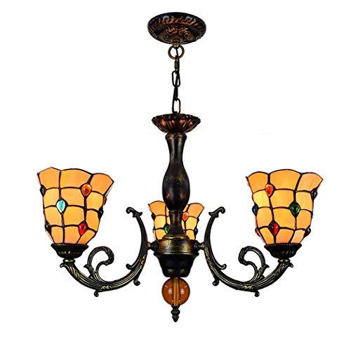 LYEJFF Tiffany Style Araña Vidrieras y diseño Jeweled Lámpara de Techo de 3 Brazos Iluminación con lámpara de Hierro Colgante del Cuerpo Luz para la Sala de Estar Comedor Dormitorio, E27