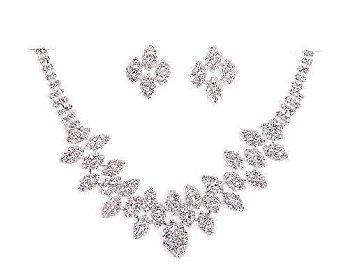 TreasureBay BA1524TB - Elegante parure da sposa composta da collana e orecchini, dal design esclusivo, con diamanti in cristallo trasparente