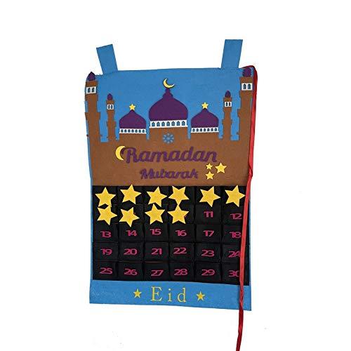 MJYGV Calendar 2021 2021 Neueste Ramadan Mubarak 30days Adventskalender Hanging Filz Countdown Kalender für Kinder Geschenke Ramadan Dekorationen Liefert 2021 Kalender MJ. (Color : Style 3)