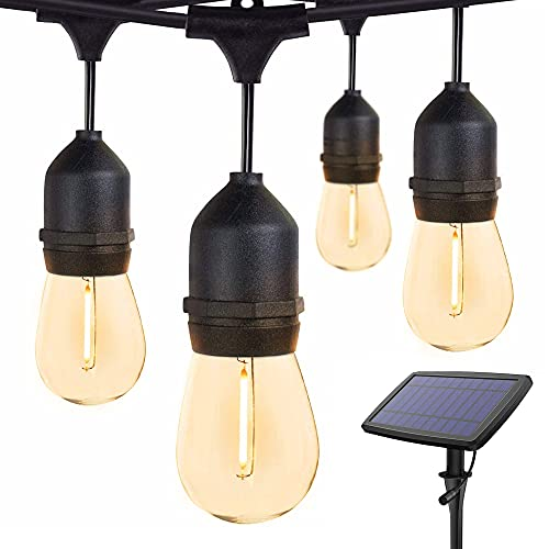 Solar String Lights Outdoor Waterproof LED Shatterproof 48FT Heavy Duty Outdoor String Lights Solar Powered with 17 Plastic Hanging S14 Edison Bulbs Solar Light Balcony Fence Patio Light String Lights