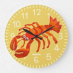 EnjoyHome Art Clock John Dyer Cornish Lobster Padstow Silent Non Ticking Quality Quartz Battery Operated Numeral Design Rustic Country Decorative Round Clock